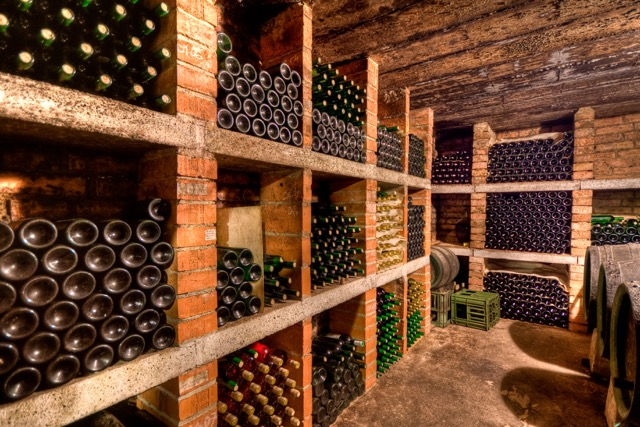 Wine bottles stored horizontally